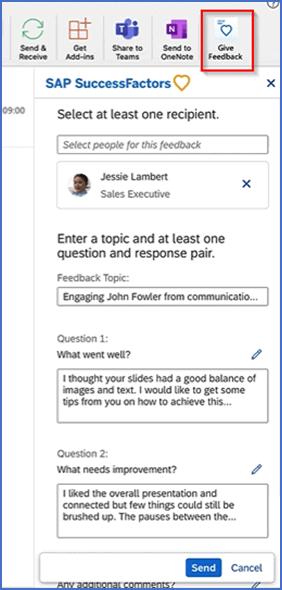 SuccessFactors Outlook add-in